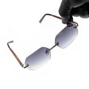 Gray Tint Gradient Frameless Vintage Woodgrain Hip Hop Rimless Sunglasses