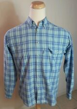 Vintage 80's Levis California Blue Teal Plaid Polo Dress Shirt Medium Surf