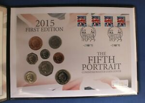 """2015 8 Coin Uncirculated Set PNC Cover """"Fifth Portrait"""" in Folder"""