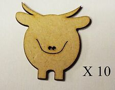 Pack of 10 MDF 50mm High      HIGHLAND COWS for embellishing your project #08