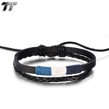 Quality TT Black Leather Blue Cotton Rope Bracelet Wristband (LB328) NEW