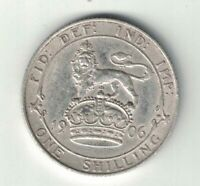 GREAT BRITAIN 1906 ONE SHILLING KING EDWARD VII STERLING SILVER COIN .1682oz