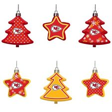 Kansas City Chiefs Shatterproof TREES & STARS Christmas Tree Ornaments 6 pack