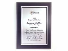 Personalized award plaque black finish 6x8 inches with brushed silver aluminum