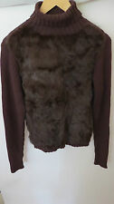 Avalin BROWN  RABBIT FUR  KNITTED  LONG SLEEVE TURTLE NECK SWEATER SIZE L