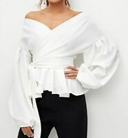 Off The Shoulder V-Neck Bishop Sleeve Wrap Belted Peplum Blouse Top Casual Party
