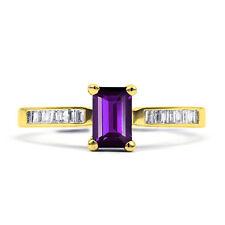 Emerald 9 Carat Amethyst Yellow Gold Fine Rings