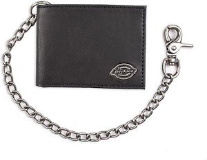 Dickies Men's Leather Slimfold Wallet with Bi Fold Chain