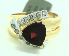 GENUINE 2.08 Cts GARNET & DIAMONDS RING 14K GOLD ** Free Appraisal Shipping **