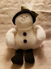 Woof & Poof Snowman 2005 Button, Lady Snowman with Fancy hat