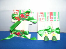 Christmas themed Santas Earring and Hair tie set of 2 Wreaths and Trees  3