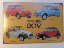 "Citroen 2CV Types Tin Metal Retro Vintage Car Bar Man Cave Sign 12"" X 8"""