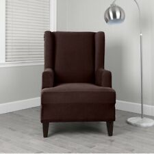 Target Home Wingback Chair Cover Slipcover Chocolate Brown Stretch Pin Stripe