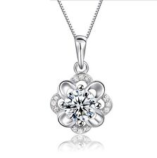 """18"""" Chain Silver Hibiscus Flower Pendant Necklace Cubic Zirconia CZ Gift Box K59"""