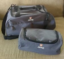 Jeep Set of Two Gray Gear Bags Duffle Zipper Pockets Tote Carry On Lightweight
