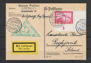 """ZEPPELIN -  POSTKARTE MIT LUFTSCHIFF GRAF ZEPPELIN - """"ISLANDFAHRT 1931"""""""