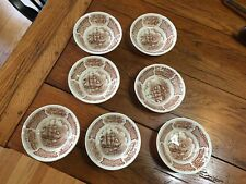 LOT OF 7 FAIR WINDS BROWN DESSERT BERRY FRUIT BOWLS ALFRED MEAKIN STAFFORDSHIRE