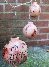 "Set of Three Creepy Christmas Ornaments Oddity Curio ""My 1st Zombie Christmas"""
