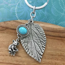 Koala Leaf Australian Made Souvenir Keyring Keychain Turquoise Charm Gift