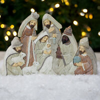 5pc Christmas Nativity Set Pastel Polyresin Ornament