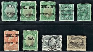 64. Lot of 9 Early Proprietary Revenue Stamp Cancels