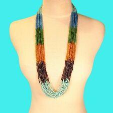 "32"" Long Multi Strand Aqua Blue Gold Color Block Handmade Seed Bead Necklace"