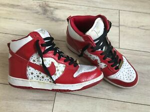 NIKE Dunk High Pro SB Supreme 2003 Red Stars Vintage Sneakers Shoes DEADSTOCK!!!