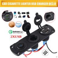 Prise allume-cigare 12V 24V + chargeur double port USB + panneau voltmètre