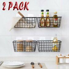 Nordic Iron Wire Kitchen Storage Basket Wall Hanging Bathroom Shelf Rack holder