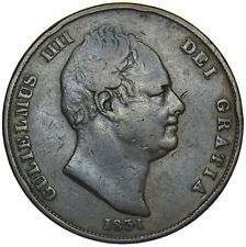 More details for 1831 penny (.w.w) - william iv british copper coin - nice