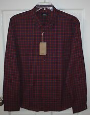 "NWT Mens A.P.C. Red Checked ""Mike"" Long-Sleeved Shirt Size XL"
