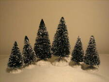 6 Lemax Christmas Village Snow Covered Trees - Set C largest size is 3.5""