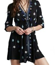Free People Women's Stargazer Embroidered, Black Combo Dress, Size Small, NWT!