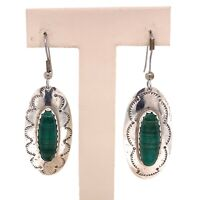 VTG Estate AT Hallmark Navajo Sterling Silver & Malachite Hook Earrings! 146