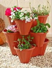 3 SET STACKABLE FLOWER PLANTERS POTS HERB GARDEN GROW MORE PLANTS IN SMALL SPACE