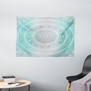 Grey and Aqua Tapestry Tribe Mandala Zen Print Wall Hanging Decor 60Wx40L Inches