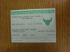 09/10/1991 Ticket: Oxford United v Portsmouth [Football League Cup]. This item h