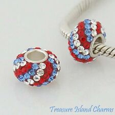 RED WHITE BLUE USA STRIPES CZ CRYSTAL .925 Sterling Silver EUROPEAN Bead Charm