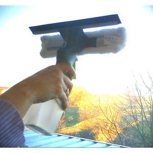 Fensterwischer mit Sprüher & Gummilippe Sprühflasche 200ml Behälter streifenfrei