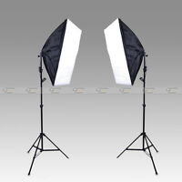 Photo Video Studio Continuous Lighting Kit E27 Bulb Lamp Softbox Light Stand