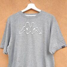 T-Shirt Kappa Uomo Donna L Grigio Melange Big Logo maglietta girocollo cotone