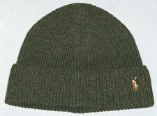 POLO RALPH LAUREN Men's Pony Wool Beanie Hat, Skull Ski Watch Cap, HEATHER OLIVE