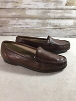 SAS Womens Brown Leather Loafer Slip On Comfort Shoes Size 7 Medium