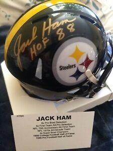 """JACK HAM """"HOF 88"""" SIGNED PITTSBURGH STEELERS SPEED MINI HELMET TRISTAR CERTIFIED"""
