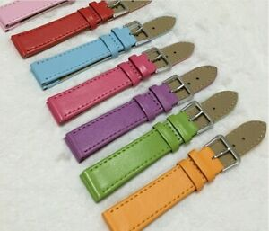 12/14/16/18/20/22/24mm Solid PU Leather Watch Band Strap Men Women Watchband