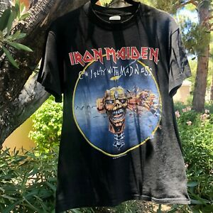 Rare Vintage 1988 Iron Maiden Seventh Son Tour Tee Front Back Graphic SS Black