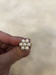 14kt Gold Pearl Sapphire Ring New Flower Cluster $959 Jewelry Sz 7.5