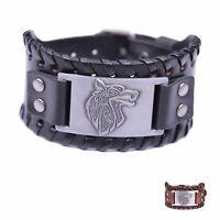Viking Pagan Celtic Knot Wolf Head Fenrir Wide Leather Bracelets for Men
