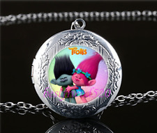 Trolls Photo Cabochon Glass Tibet Silver Chain Locket Pendant Necklace