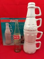 "Vintage 1996 14"" Coca-Cola Ceramic STACKABLE Coke Bottle Mugs Creamer Sugar Set"